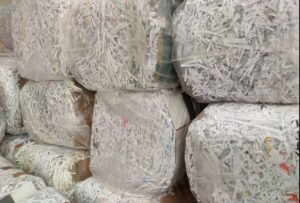 Shredded paper bales